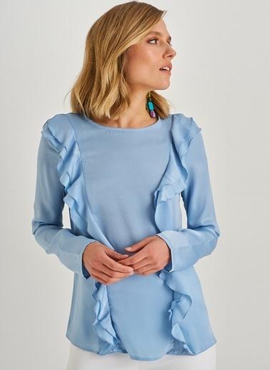 People By Fabrika Fırfır Detaylı Bluz Mavi